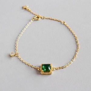 Jewelry - Green Zircon 18k Gold Sterling Silver Bracelet